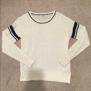 Madewell black stripe on white shirt