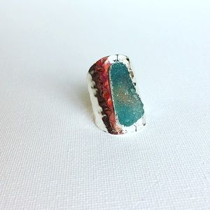 Druzy Silver Plated Wide Band Adjustable Ring