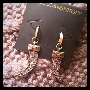 Rebecca Minkoff pave horn drop earrings in gold