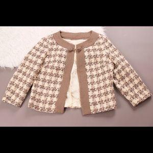 Vintage Jackets & Blazers - Vintage 1960s brown tan houndstooth swing coat