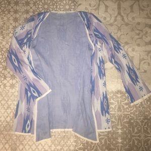 Minnie Rose Aztec Purple Print Wrap Sweater
