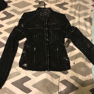 Jackets & Blazers - Mesh Faux Leather Biker Jacket