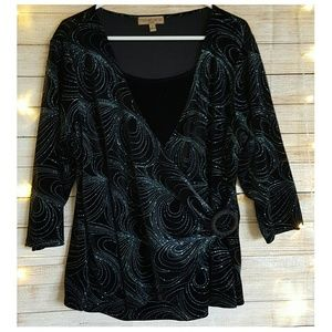 Notations Tops - Faux Wrap Top 2fer Black Velvet Blue Glitter 2X