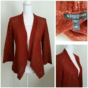 Eileen Fisher Dark Orange Linen Blend Cardigan