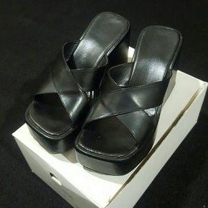 Shoes - Black Platform Slides