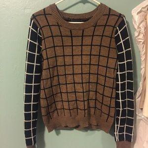 Vintage grid color block sweater