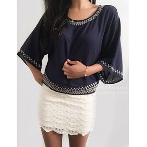 Monteau Tops - NWOT Monteau Navy Blue & Cream Embroidered Top