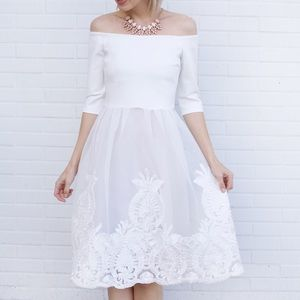 Off The Shoulder Midi Lace Detail Dress - White