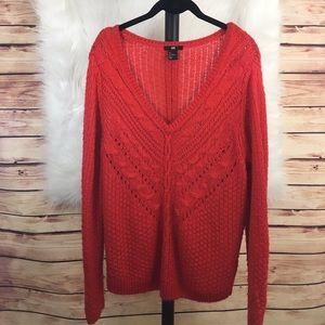 H&M red knit vneck sweater (preloved)
