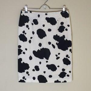 Moda International Dresses & Skirts - Moda Fuzzy Cow Print Pencil Skirt Size 8