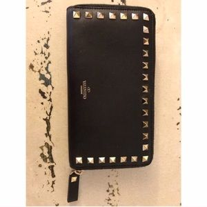 Valentino Garavani Handbags - Valentino Rockstud Black Leather Wallet