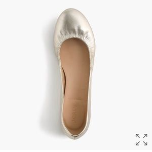 J. Crew Cece Metallic Ballet Flats Size 7 EEUC