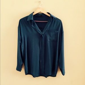 Tops - Dark turquoise collared blouse / Never worn