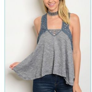 Tops - ✨🆕PRETTY STRAPPY NAVY TANK TOP🆕✨NWT