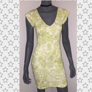 White and green floral lace dress