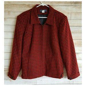 Maggie McNaughton Jackets & Blazers - Red Black Houndstooth Jacket Front Zip  22W
