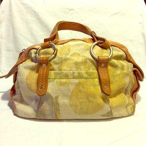 Ruehl canvas and leather handbag
