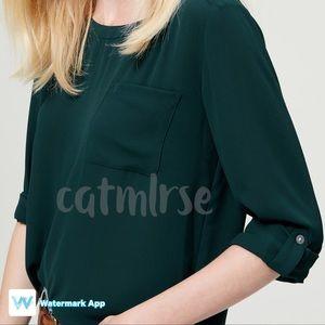 LOFT Tops - 🆕LOFT Petite Pocket Blouse Top in Teal Green