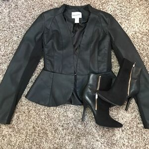 Body Central Jackets & Blazers - Faux leather peplum blazer