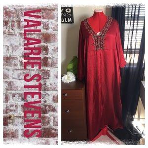 Valerie Stevens Dresses & Skirts - Valerie Stevens wine satin caftan