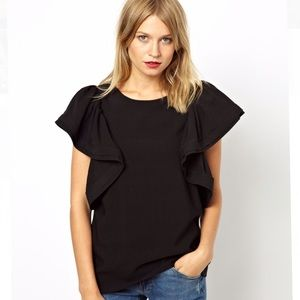 ASOS shell top with dramatic ruffle sleeve