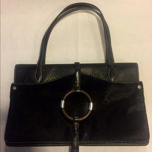 Ruehl Black Calf Hair & Brown Buffalo Leather Bag