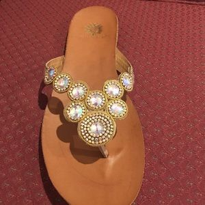 Yellow Box Shoes - Yellowbox Nectarine embellished Gold Flip Flops