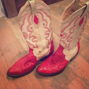 Red Genuine ostrich boots