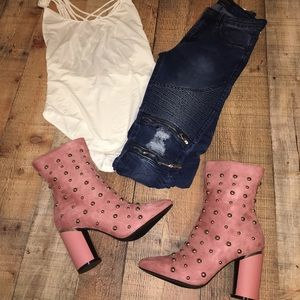 Dusty Rose Studded Booties