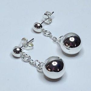 Shiny Sterling Silver Drop Earrings