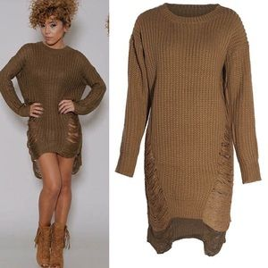 Dresses & Skirts - Brown knitted dress