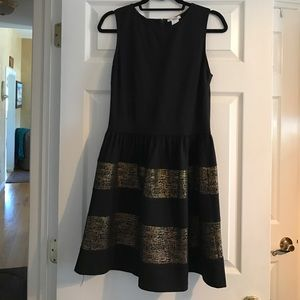 Black and Gold Fit and Flare Dress