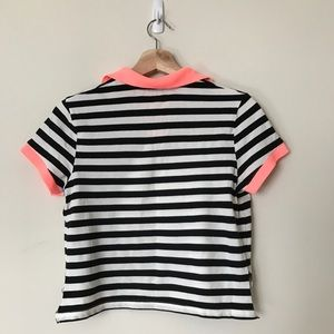 River Island Tops - Striped polo with neon pink accent