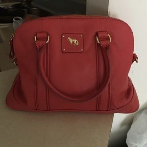 Emma Fox Handbags - Red Leather Emma Fox Purse with Gold Detail