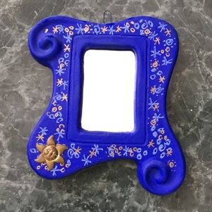 Hand-made and hand painted ceramic mirror Mexico