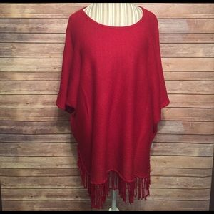NY Collection Tops - NY Collection Woman Red Poncho Size 2X