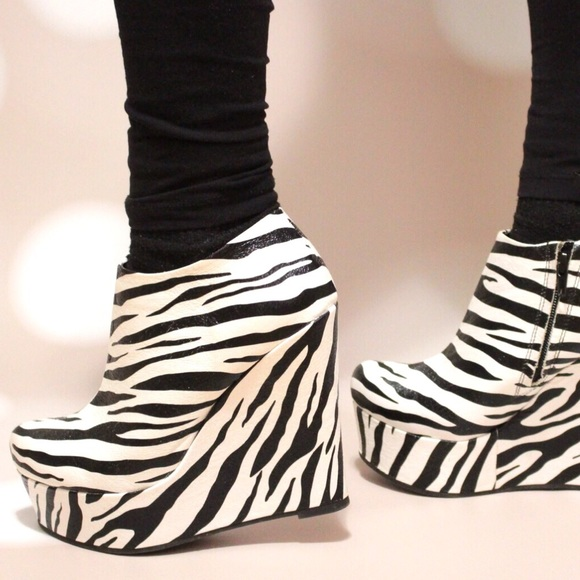 c299ee5519ab Forever 21 Shoes - Zebra print platform wedge shoes from Forever 21