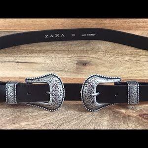 B-Low the Belt Accessories - Zara Black Western Double Buckle Belt