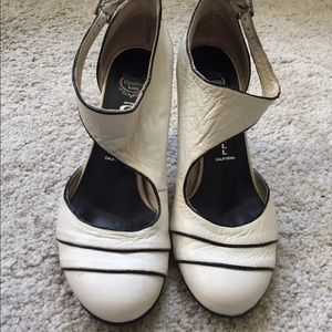Jeffrey Campbell white leather pumps ankle strap