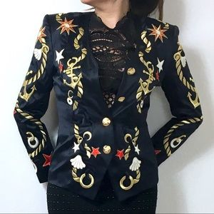 Escada Jackets & Blazers - Escada Embroidered Navy Jacket