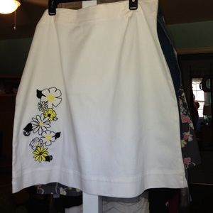 White Skirt Yellow/black floral design
