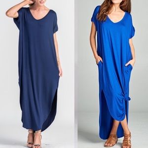CHARLIZE solid boho dress - NAVY