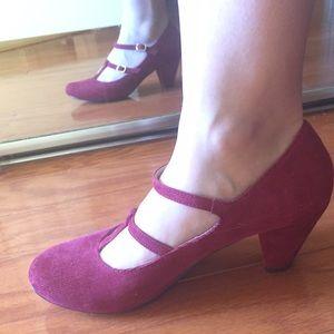 Corduroy T-strap heels by Chelsea Crew