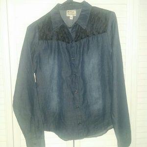 Pretty Rebellious Tops - Denim button down shirt with black lace