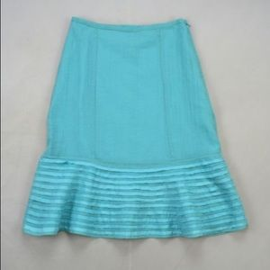 Odille Dresses & Skirts - Ofille Turquoise Spring Skirt Tiered Trim sz 0