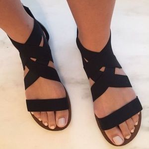 GlamVault Shoes - HERE❣️Black Strappy Wrap Sandal with Zipper Back