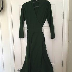 Eshakti knit fit and flare green wrap midi dress