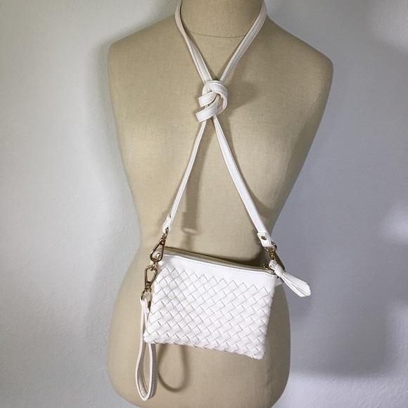 Charming Charlie Handbags - 🌟 White leather woven wristlet/cross body
