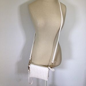 Charming Charlie Bags - 🌟 White leather woven wristlet/cross body