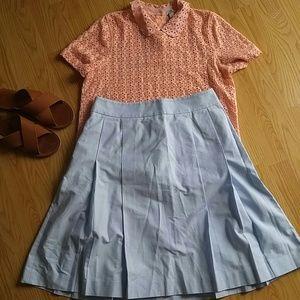 Brooks Brothers Dresses & Skirts - Brooks Brothers Petite Oxford blue pleated skirt